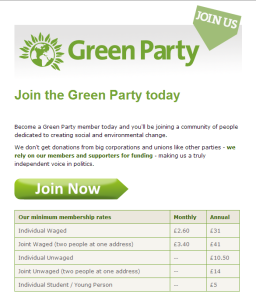 Green Party member web form