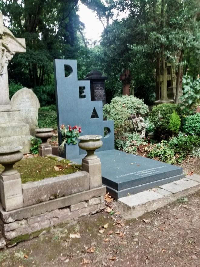 Patrick Caulfield's gravestone in Highgate Cemetery