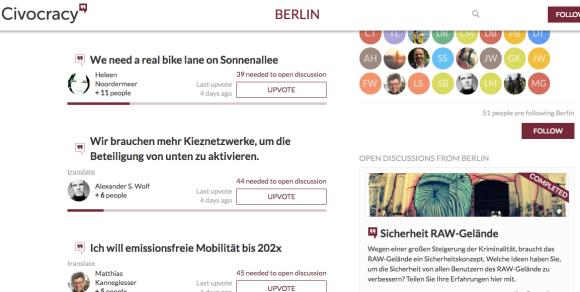 Civocracy screenshot from Berlin