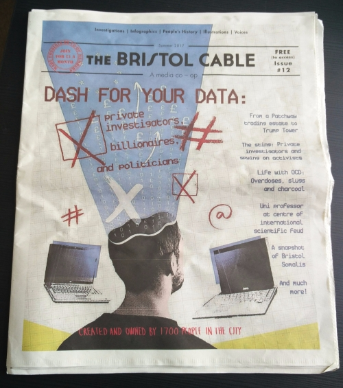 The Bristol Cable frontpage, Summer 2017